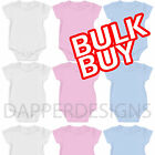 BABY VESTS GROW SUIT BLUE BULK WHOLESALE SOFT STRETCH COTTON HALFSLEEVE MADE UK