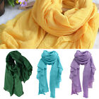 Women's Fashion Long Cotton Linen Wrap Scarf Shawl Solid Stole Pashmina Worthy