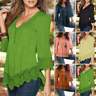 Vogue Ladies Casual Long Sleeve Lace Shirts Loose Blouses T Shirt Tops Plus Size