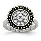 Stainless Steel CZ with Yellow IP-plated Accent Antiqued Ring