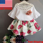 2PCS Child Kids Toddler Baby Girl Dress Outfits Shirt Tops Floral Tutu Skirt Set