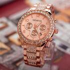 Geneva Women Luxury diamond Stainless Steel Crystal Quartz Round Watch Dress