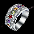 Stunning Platinum Plated Colorful Zirconia Ring