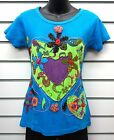 GRINGO FAIR TRADE TURQUOISE COTTON TSHIRT HEART & FLOWER APPLIQUE DESIGN BNWT