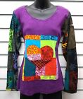 GRINGO FAIR TRADE PURPLE COTTON LONG SLEEVED TOP APPLIQUE DESIGN PATCHWORK ARMS