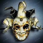 Luxury Venetian Jester Musical Joker Crafted Masquerade Full Face Mask w/ Bells