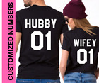 Hubby Wifey Tshirt Couples matching cute just married King Queen T Shirts Gifts