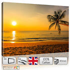 LARGE SUNSET ON THE BEACH LANDSCAPE SEASCAPE - CANVAS WALL ART PRINT STRETCHED