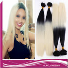 Fashion bundles omber two tone black/blonde straight hair synthetic weave weft