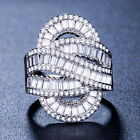 Women 925 Silver White Sapphire Wedding Gorgeous Engagement Party Ring Size 6-10