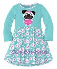 Girls SUNSHINE SWING boutique dress 5 8 &10 NWT aqua pug hearts long sleeve pink
