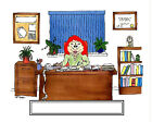 Bookkeeper Female  Cartoon Character Personalized Matted Print  Product  11 x 14