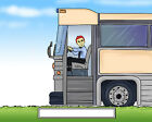 Bus Driver Male  Cartoon Character Personalized Matted Print  Product  11 x 14