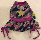 Star Dog Dress - XS (teacup) or S - Bow Skirt - Grey/Purple/Navy - Top Paw - NWT