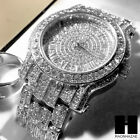 TECHNO PAVE ICED WHITE GOLD FINISHED LAB DIAMOND WATCH and RING#2 SET TP12S