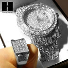 TECHNO PAVE ICED WHITE GOLD FINISHED LAB DIAMOND WATCH and RING#2 SET TP12S image