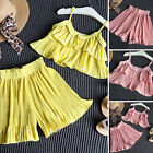 Baby Girls Summer Outfits Clothes T-shirt Tops + Cropped Pleated Pants 2PCS set