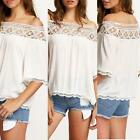 Summer Women Lace Off Shoulder T-Shirt Casual Short Sleeve Loose Top Blouse Tops
