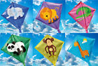 KIDS MINI DIAMOND ANIMAL KITES. LION, PANDA, CROC, MONKEY, GIRAFFE. EASY TO FLY