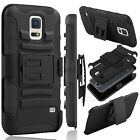 Hybrid Rubberized Hard Phone Case Belt Clip Holster Stand For Samsung Galaxy S5