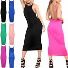 Womens Celeb Strappy Backless High Neck Party Bodycon Ladies Evening Midi Dress