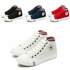 Women Canvas Sneakers High Top Lace Up Flat New Plimsoll Shoes 4 Colors
