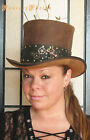 Steampunk Hat Futurist Traveller Sci Fi Gears Leather HIGH Top Hat 2 Tones