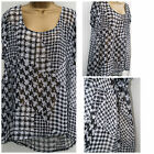 Ladies Threads Plus Size Black &White Blouse Houndstooth Sheer Tunic Top 18 - 24