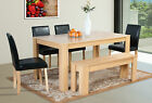 Large Dining Table with 4 Chairs and Bench Faux Leather Oak Walnut Furniture New