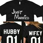 Just Married Hubby Wifey Tshirt Couple Matching Love Cute Shirts TWO SIDES PRINT