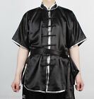 Wushu KungFu Uniform ChangQuan Uniforms Taichi Kung Fu Chinese BLACK Silver Trim