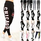 Womens Ladies Printed Chicago Brooklyn 76 Workout Full Length Stretchy Leggings