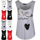 Womens Ladies Jersey Edge Love Is for Brave Curved Hem Summer Edging Vest Top