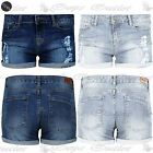 Ladies Ripped Turn Up Hem Womens Destroyed Distressed Faded Denim Hot Pant Short