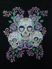 Purple Roses Day Of The Dead Sugar Skull on a Unisex/Men Size T-Shirt HALLOWEEN