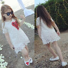 Toddler Kids Baby Girls Lace Princess Dresses Wedding Party Pageant Ball Gown UK