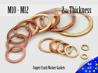 M10 / M12 Thick 2mm Metric Copper Flat Ring Oil Drain Plug Crush Washer Gaskets