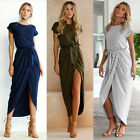 UK Womens Belted Split Holiday Maxi Casual Ladies Beach Party Long Skirts Dress
