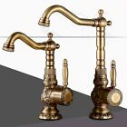 Antique Brass Bathroom One Handle Brass Carved Mixer Tap ancient Roman Style