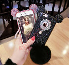 Bling Sparkle Sequins Ears Warm Furry Fluffy Soft Rabbit Fur Ball Case Cover