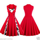 Plus Size Red Women's 1950s Vintage Print Patchwork Dress Rockabilly Prom Dress+