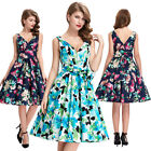 Womens Floral Retro 1950s SEXY V Neck Casual Party Cocktail Dress Flared Vintage