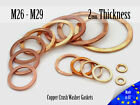 M26 / M42 Thick 2mm Metric Copper Flat Ring Oil Drain Plug Crush Washer Gaskets