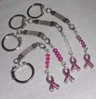 Pink Glitter Breast Cancer Awareness Ribbon Charm Pull Ring Key Ring with Chain