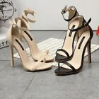 New Womens Stiletto Open Toe Patent Leather Buckle Strap Casual High Heels Shoes