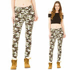 Womens Green & Brown Slim Skinny Stretch Camouflage Combat Trousers Cargo Pants