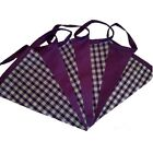 Purple gingham and taffeta single sided bunting - wedding birthday party