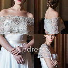 Off The Shoulder Wedding Boleros Lace Applique Pearls Beads Bridal Wraps Custom