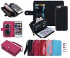Leather Removable Wristlet Cash Clutch Wallet Card Case For iPhone & Samsung