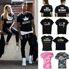 Unisex King and Queen Couple Design Tees Matching Love Funny Cute T-Shirts New